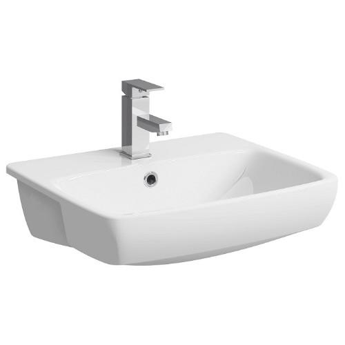 Twyford E100 Square Semi-Recessed Basin - 550mm Wide - White
