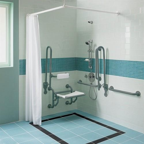 Twyford Doc.M Shower Pack With Grab Rails And Seat - Grey