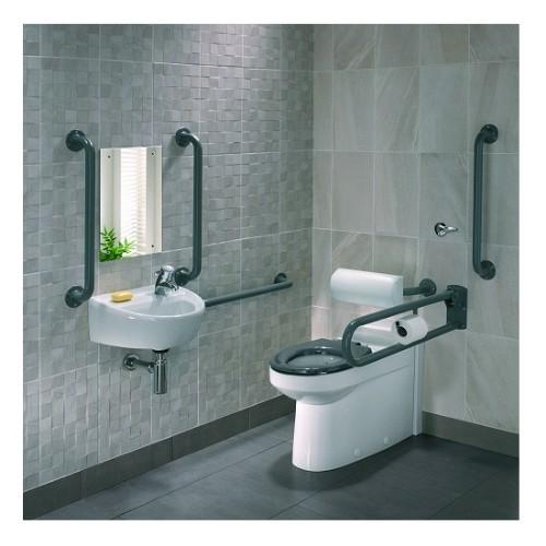 Twyford Doc M Back To Wall Pack With Grab Rails And Seat - Rimfree