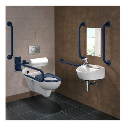 Twyford Doc M Wall Hung Pack With Grab Rails And Seat - Rimfree