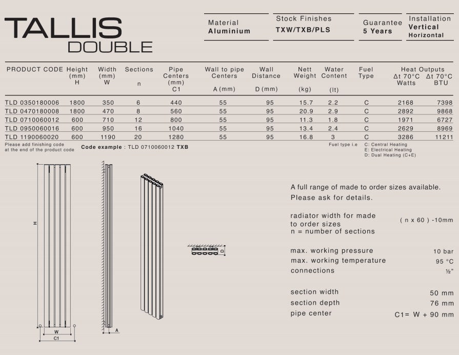 Carisa Tallis Aluminium Double Panel Horizontal Radiator