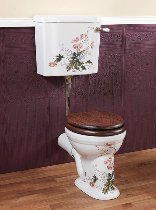 Silverdale Belgravia/Victorian White 6L Low Level Cistern & Fittings - Blue Pattern/Victorian Garden