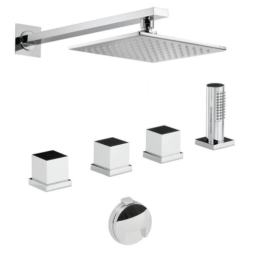 Abode Zeal Thermostatic Bath Overflow Filler Kit with Handshower & Shower - Chrome