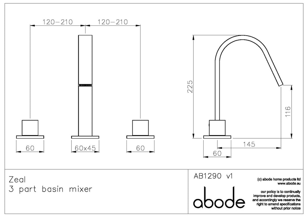Abode Zeal 3 Hole Basin Mixer - Chrome