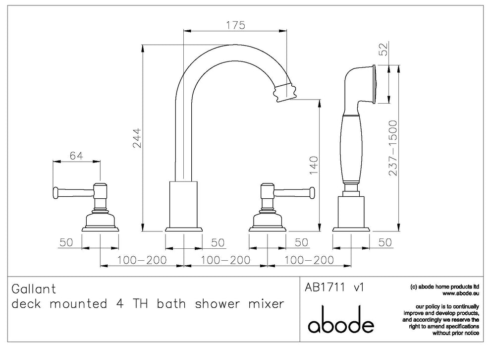 Abode Gallant 4 Hole Bath Shower Mixer with Shower Handset - Chrome