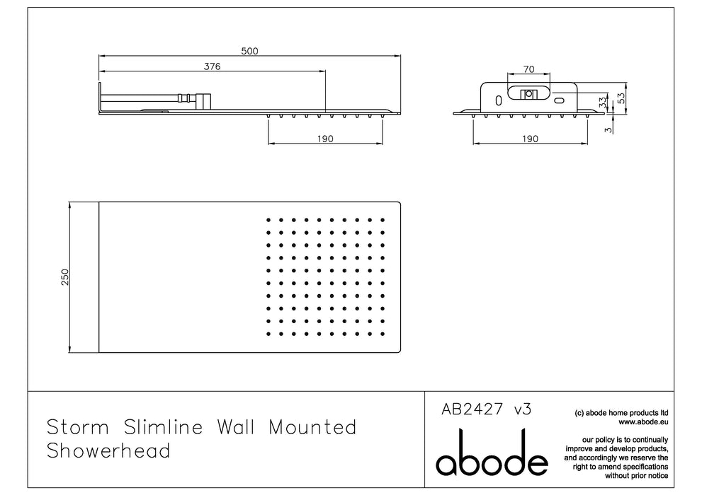 Abode Storm Slimline 3mm Wall Mounted Showerhead - Square Edge - Chrome
