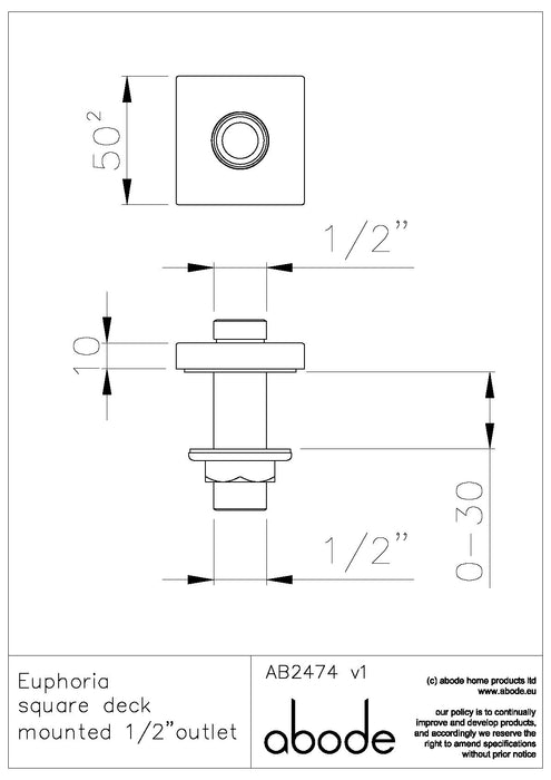 Abode Wall Outlets  Deck Mounted Shower Outlet - Chrome