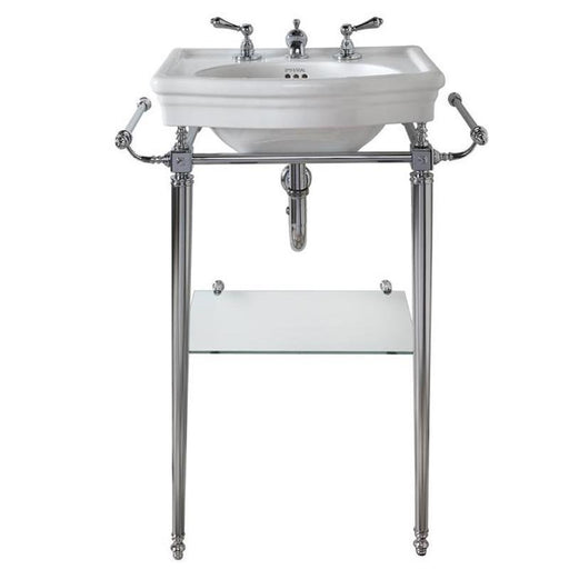 Imperial Firenze Cloak Basin Stand with Brass Legs and Glass Shelf