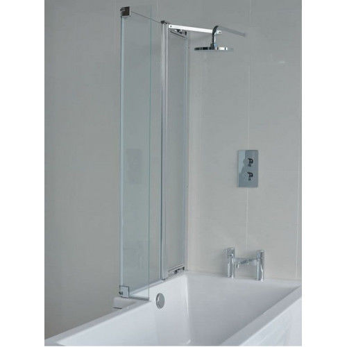 Cleargreen Ecosquare Bath Screen with fixed panel - LH - Chrome