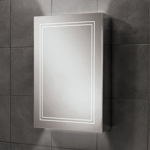 HiB Edge Aluminium 1 Door Steam Mirror Cabinet