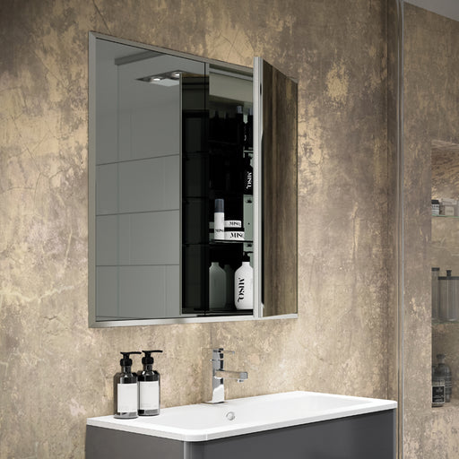 HiB Essence Aluminium 2 Door Ressed Mirror Cabinet