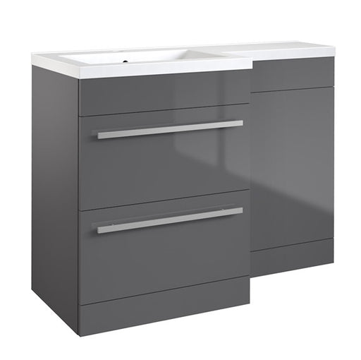 Kartell Matrix 2 Drawer L-Shaped Furniture Pack 1100mm with Cistern - Grey Gloss
