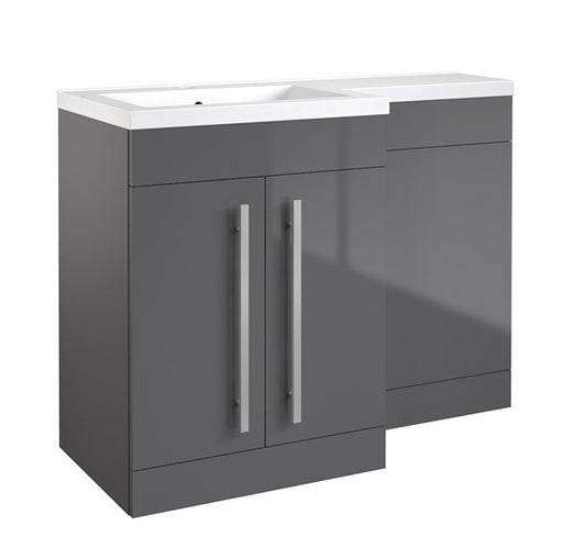 Kartell Matrix 2 Door L-Shaped Furniture Pack 1100mm with Cistern - Grey Gloss