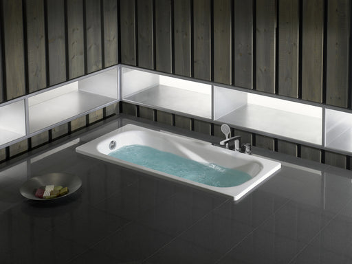 Roca Princess-n Anti-slip Rectangular Steel  Bath - 2 Tap Holes - White