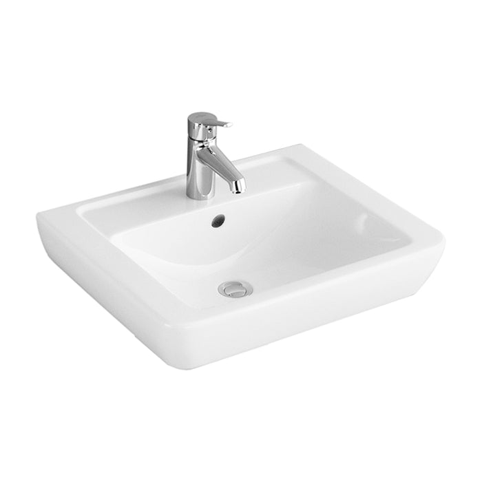 Abacus Simple Basin With Full Pedestal-600mm Wide-1 Tap Hole-White