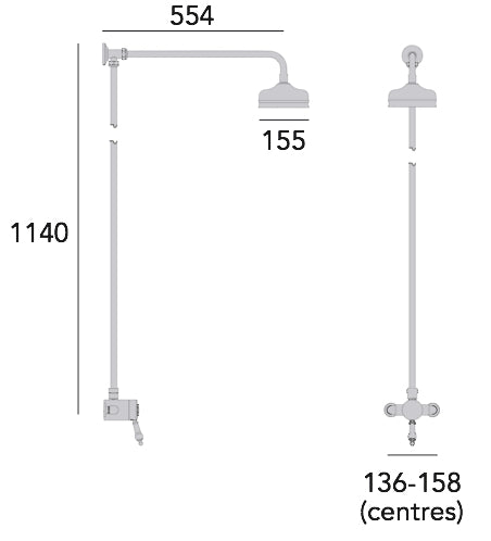 Heritage Glastonbury Exposed Shower with Premium Fixed Riser Kit