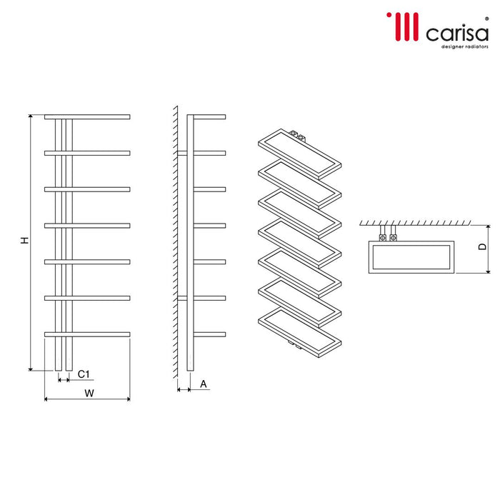 Carisa Woodstock Stainless Steel Vertical Radiator