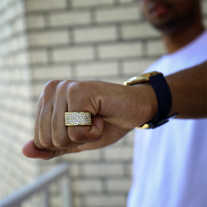 Iced Out 14k Gold Lab Diamond Ring