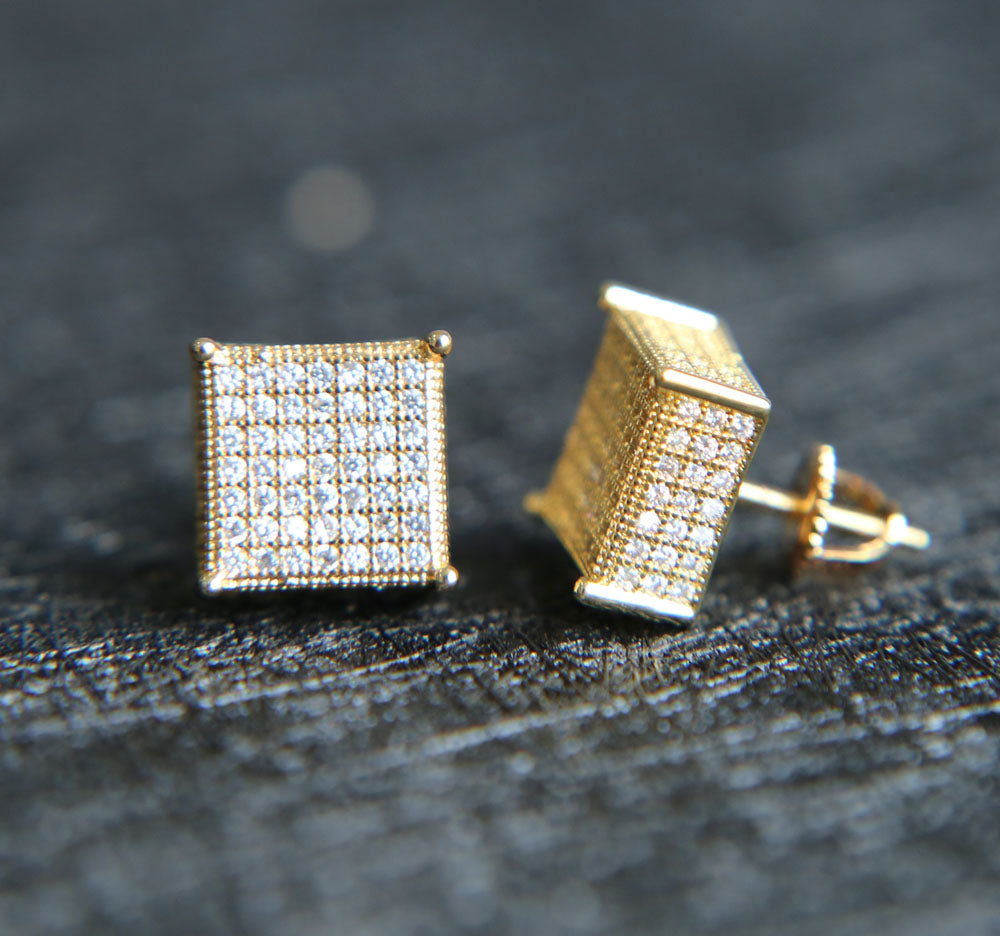 Iced Out Big Square Earring