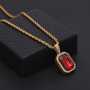 Iced Out Ruby Gem Pendant