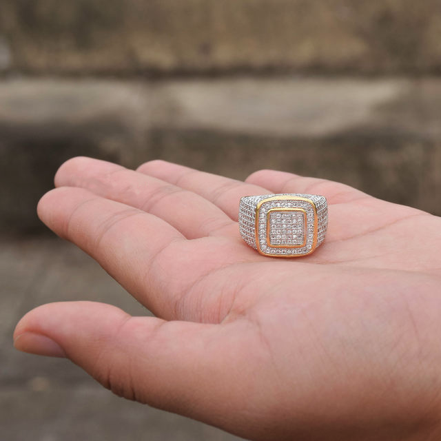 Iced Out Lab Simulated Diamond Mens Ring
