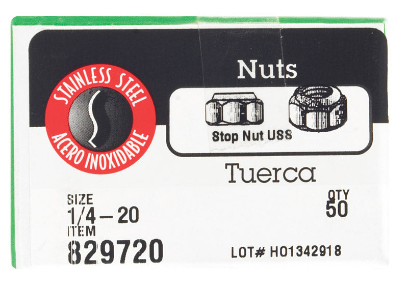 "NUT LOCK SS 1/4"" BX50 