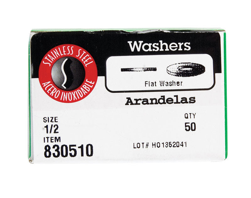 "WASHER FLAT SS 1/2""50PK 