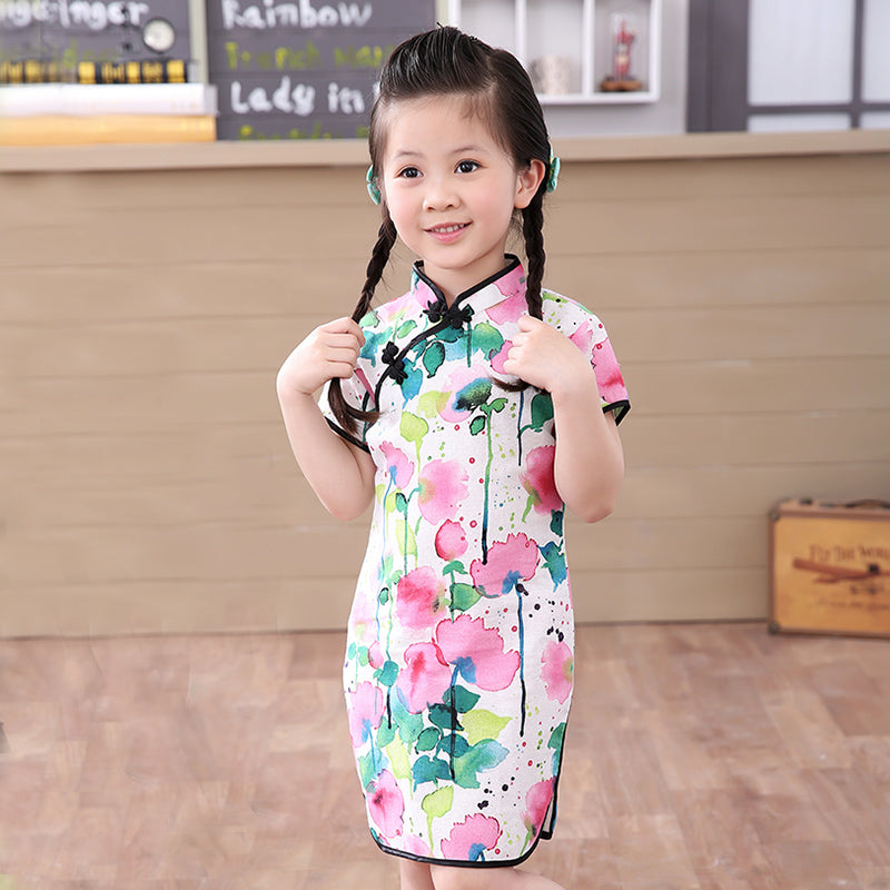 85a847347845b Baby girl CNY 2018 dress clothes summer style children cotton short sleeve  for kid