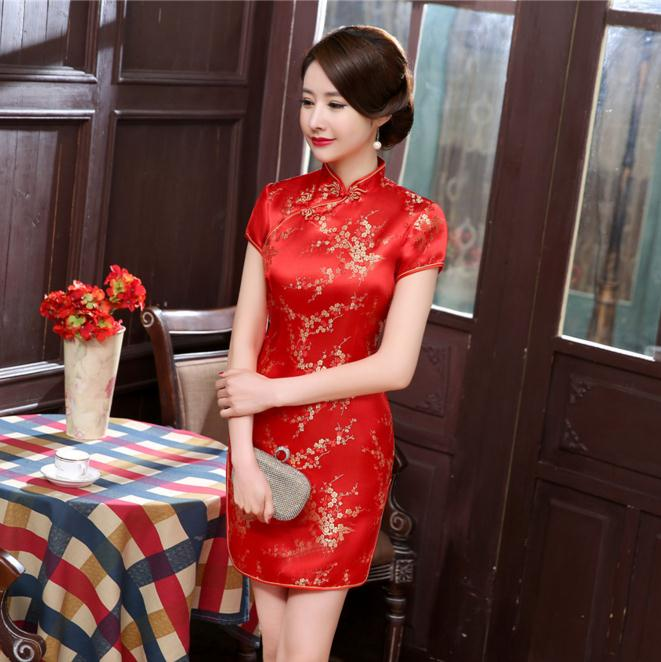 bd3d98a47 CNY 2018 Red Chinese Women Traditional Dress Silk Satin Cheongsam ...