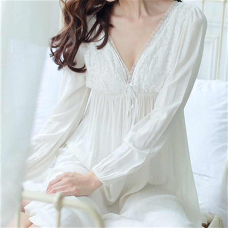... Autumn Vintage Nightgowns V-neck Ladies Dresses Princess White Sexy  Sleepwear Lace Home Dress Comfortable ... afac57ba1