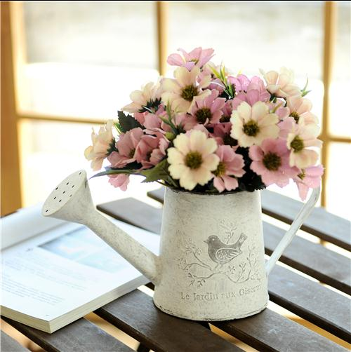 Rebate Shopping Mall & New Christmas Home Deco European style village style retro iron flower barrels decoration flower vase decoration without flower