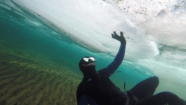 michigan, michigan overboard, ice diver, diving, lake michigan, badass, cold water, under water