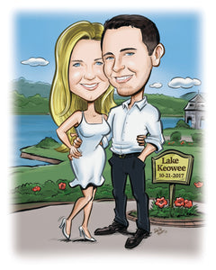 Wedding save the date caricature bride groom