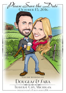 Save the date wedding vineyard custom drawing bride groom