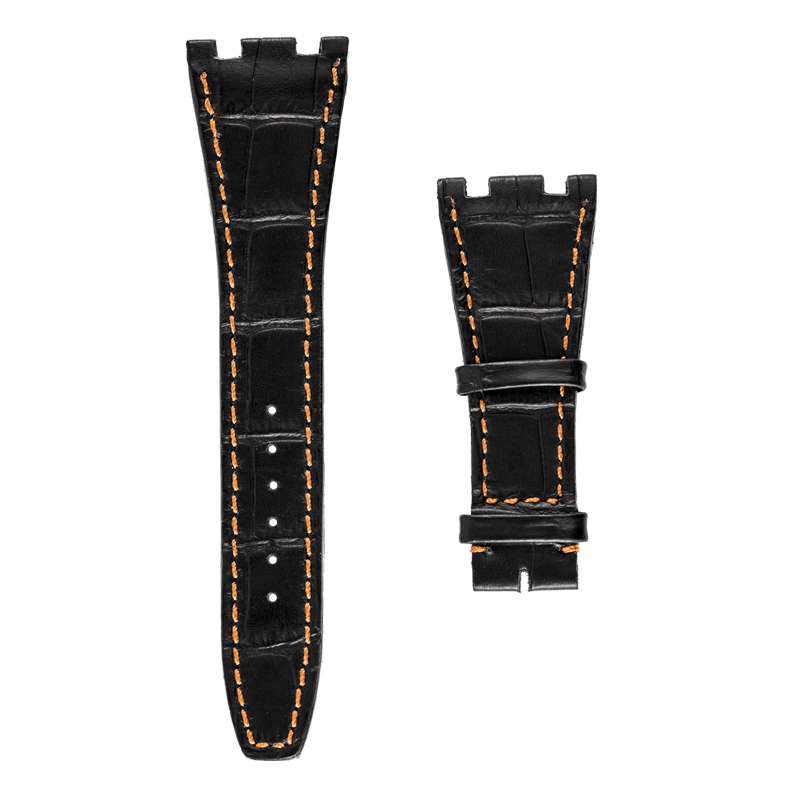Audemars Piguet Parts Audemars Piguet Black Alligator Strap with Orange Stitches