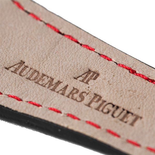 Audemars Piguet Parts Audemars Piguet Royal Oak Black Alligator Custom Strap with Red Stitches