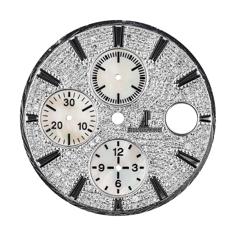 Audemars Piguet Parts Audemars Piguet Royal Oak Offshore 44mm Diamond Pave Mother of Pearl Subdials Custom Dial