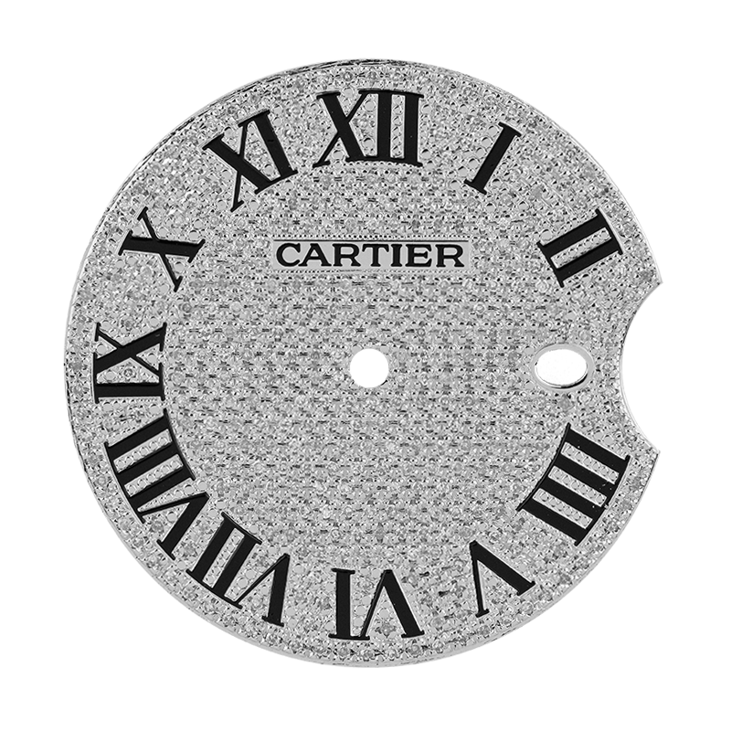 Cartier Parts Cartier Ballon Bleu 42mm Diamond Pavé/Roman Numeral Custom Dial