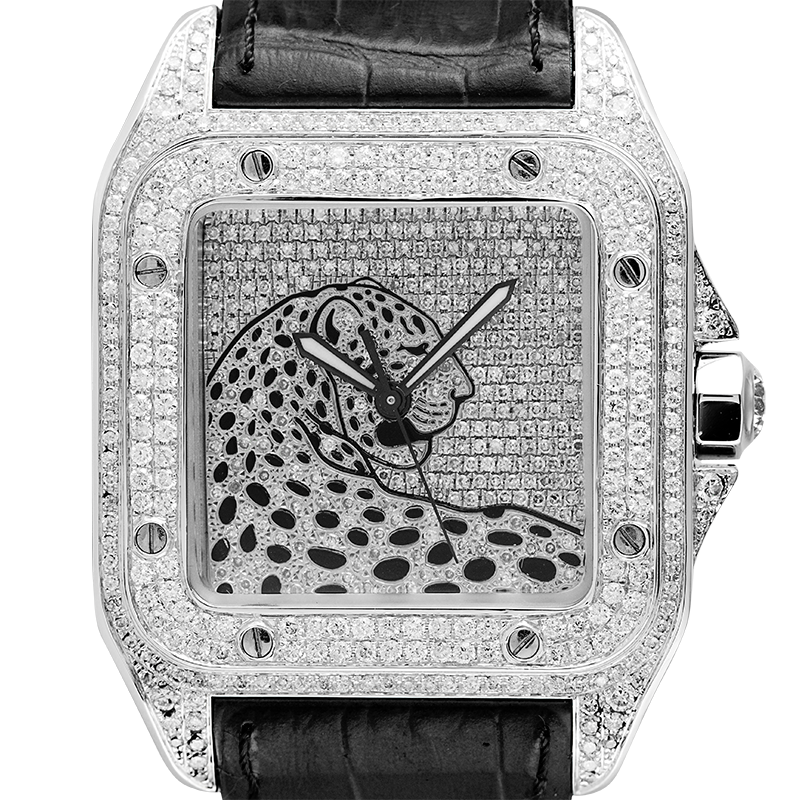 Cartier Watch Cartier Santos 100 L Panthère Diamond Set Custom Watch Black Leather Strap W20073X8