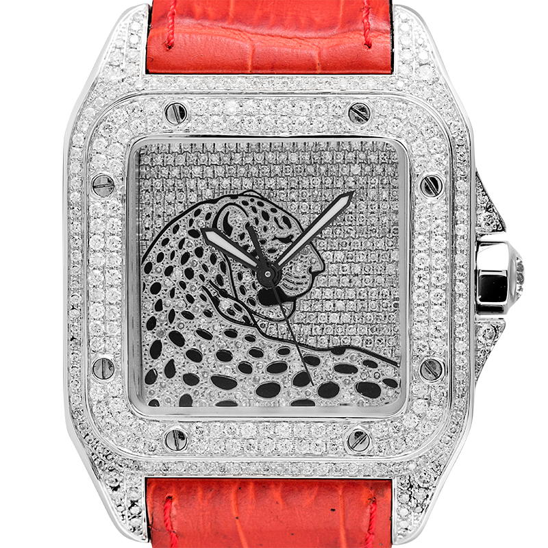 Cartier Watch Cartier Santos 100 L Panthère Diamond Set Custom Watch Red Leather Strap W20073X8