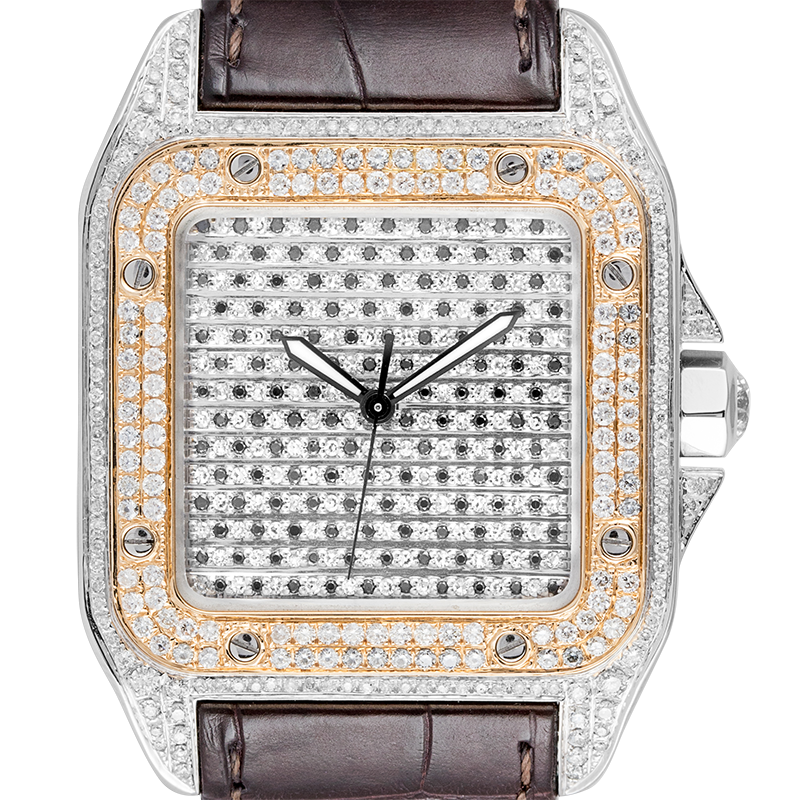 Cartier Watch Cartier Santos 100 Large Diamond Set Watch with Gold Bezel and Leather Strap W20091X7