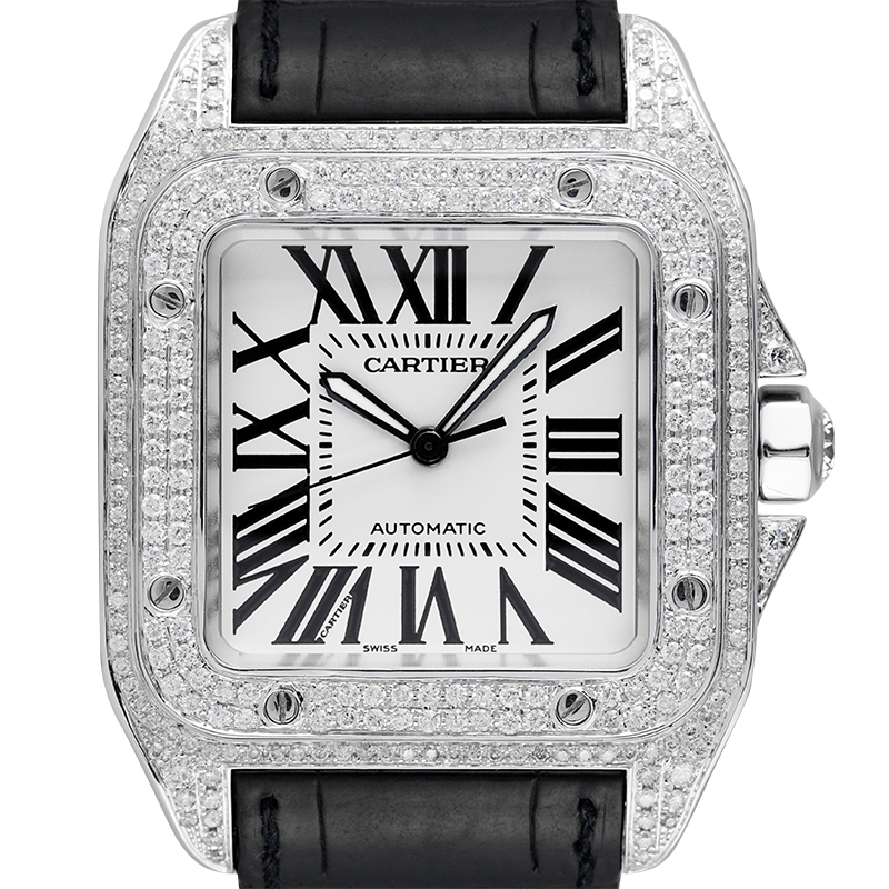 Cartier Watch Cartier Santos 100 Large Diamond Set White Dial W20073X8