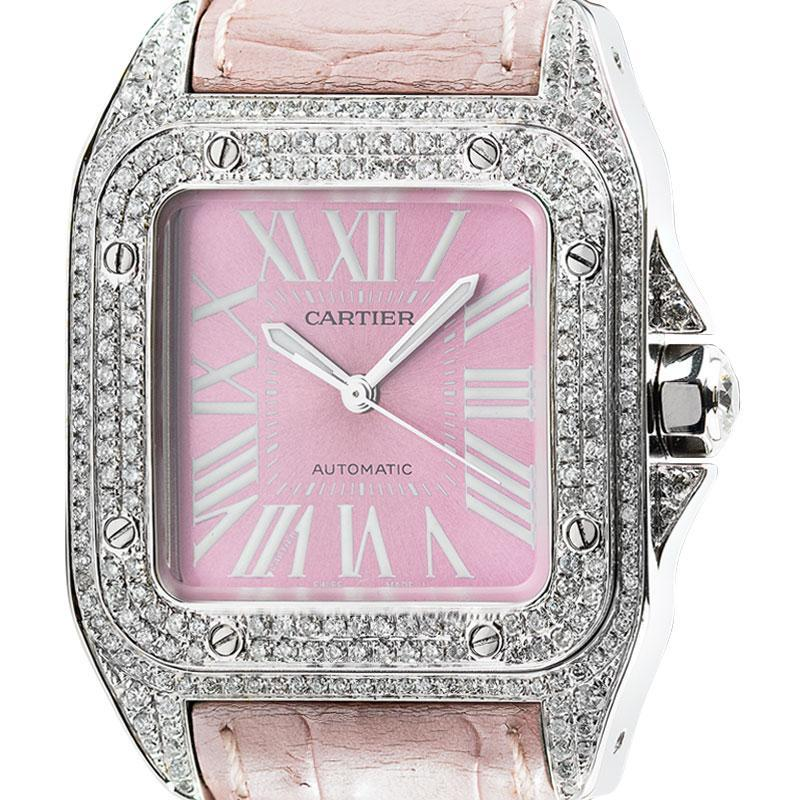 Cartier Watch Cartier Santos 100 Midi Diamond Set Pink Dial and Leather Strap W20106X8