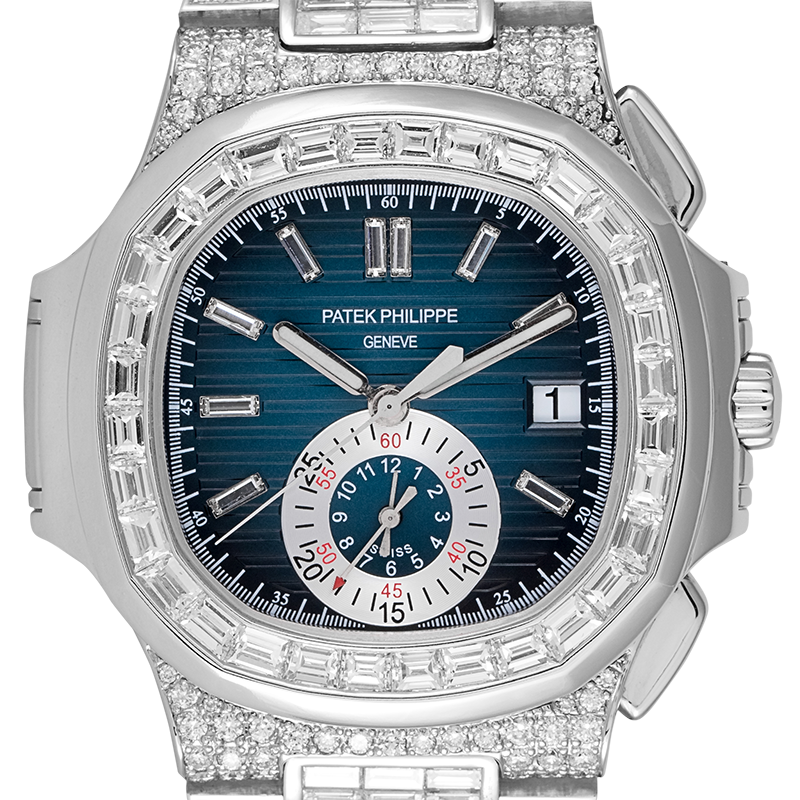 Patek Philippe Watch Patek Philippe Nautilus 5980 Stainless Steel Custom Diamond Set Blue/Diamonds