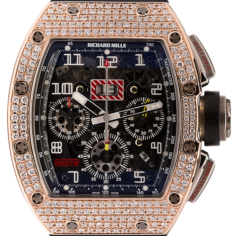 Richard Mille Watch Richard Mille RM011 Rose Gold Felipe Massa Diamond Set