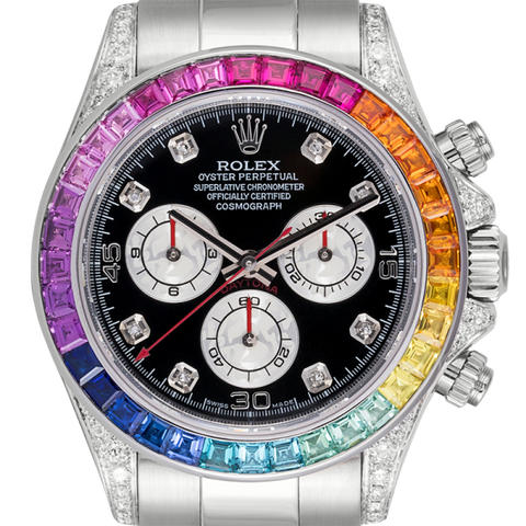 Rolex Watch Rolex Cosmograph Daytona White Gold Rainbow Diamond Bezel 116509