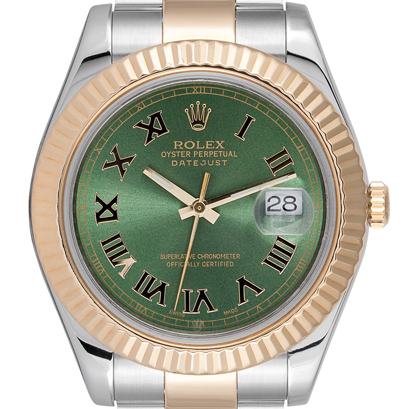 Rolex Watch Rolex DateJust II 41mm watch in Steel/Gold with custom Olive Green dial 116333