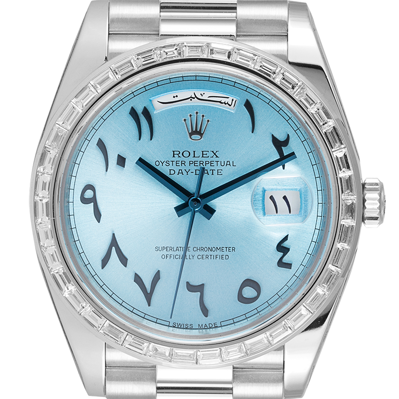 Rolex Watch Rolex Day-Date 40 Platinum Custom Arabic Scripts Dial and Diamond Set Bezel 228206