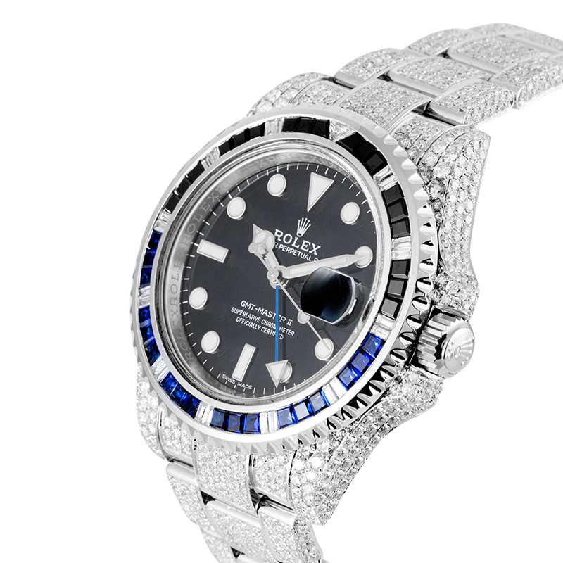 Rolex Watch Rolex GMT-Master II Stainless Steel Micro Diamond Set with Custom Black/Blue Bezel 116710LN