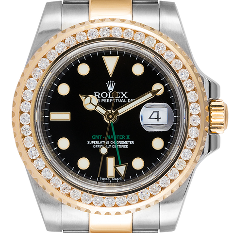 Rolex Watch Rolex GMT-Master II Steel and Yellow Gold with custom diamond bezel 116713LN